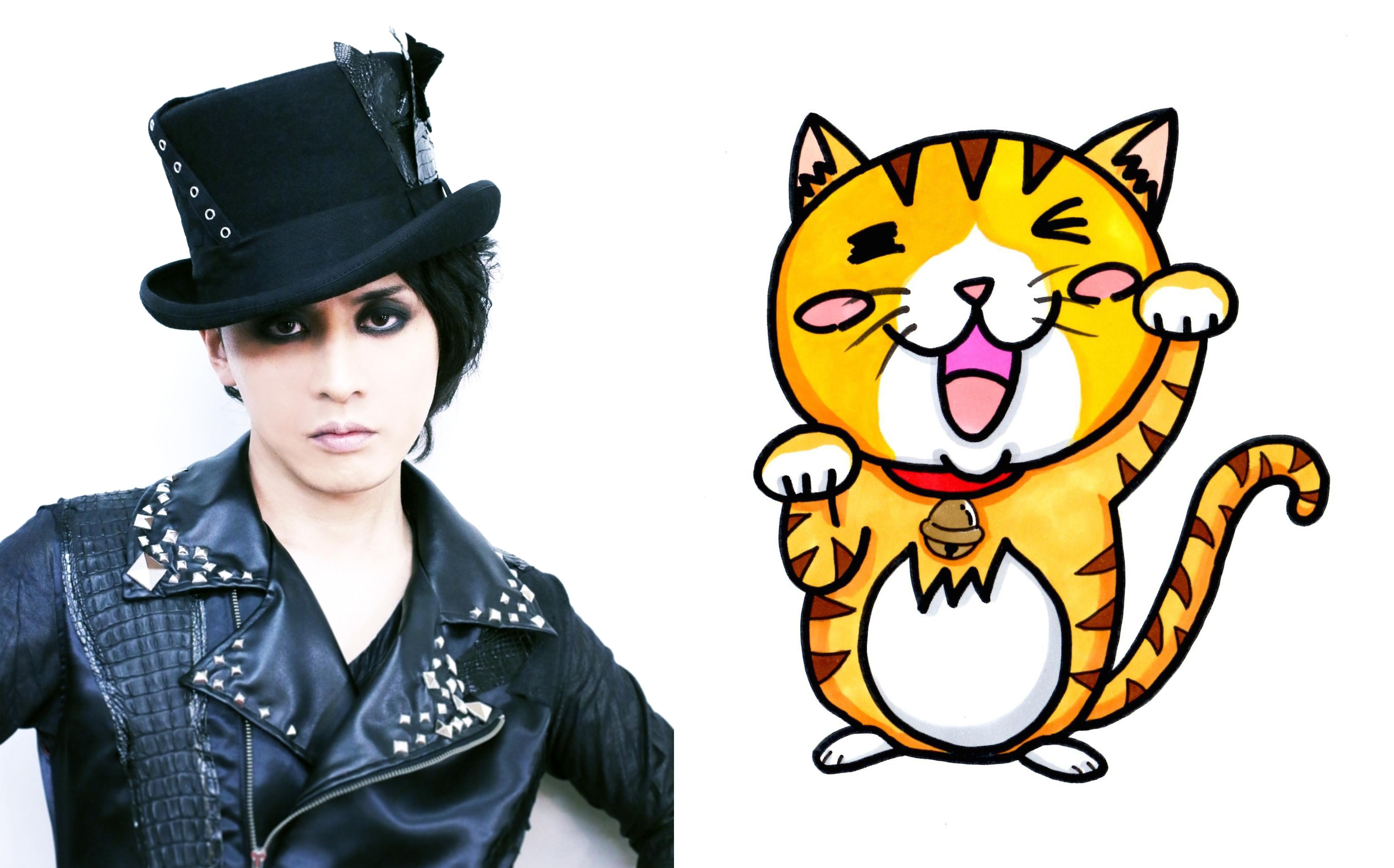 左)Lidaさん。右)描いてくださった猫イラスト。