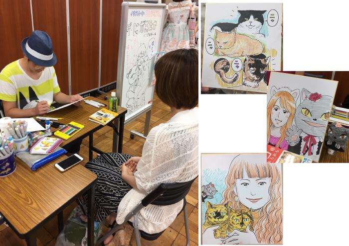 「ザ・似顔絵や」では、イラストレーター二平瑞樹氏が、その場でお客様の似顔絵を描いてくれました。